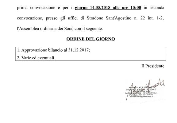 CONVOCAZIONE ASSEMBLEA ORDINARIA DEI SOCI